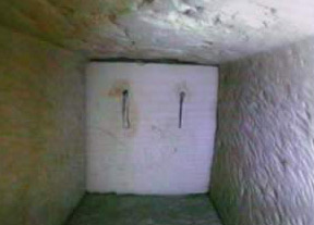 One of the doors discovered in the Queen's chamber shafts made of fine white Tura limestone with two copper handles