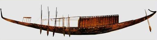 A side view of Khufu's famous boat at Giza