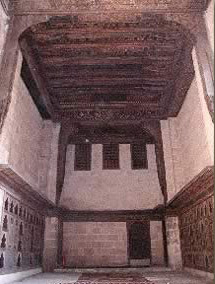 The Mandara hall, showing the wooden ceiling