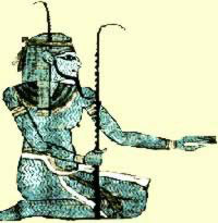 Heh, the god of infinity of the Ogdoad, wears and holds the notched palm frond, the Egyptian symbol of long life