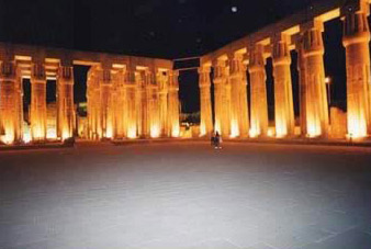 The Luxor Temple at night