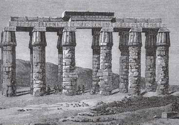 Standing columns and lintels at Hermopolis, as drawn by Vivant Denon and published in his Voyages in 1802