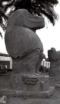 One of two colossal statues of the god Thoth as a baboon at Hermopolis
