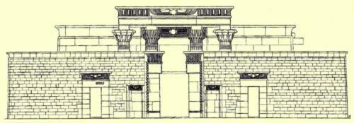 Drawing of the Hibis Temple in the Kharga Oasis