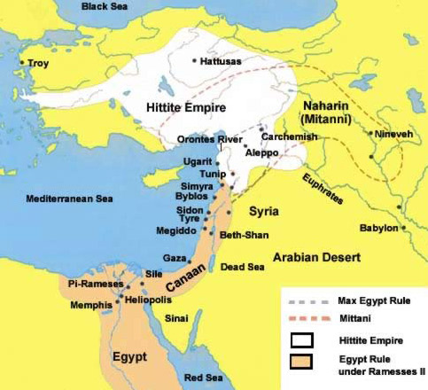Leading Up To The Battle Of Kadesh - Map of egypt and syria