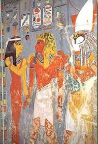 From his tomb in the Valley of the Kings, Horemheb is surrounded by Hathor and Harsiesis