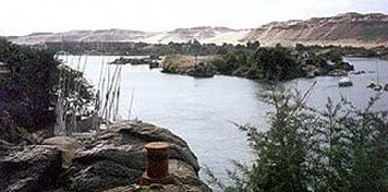 At various locations, such as at Aswan, the banks of the Nile quickly turn into hills, or mountains, to the ancient Egyptians