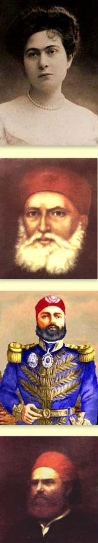 From top to bottom, Amina Tousson, Ibrahim Pasha, Abbas I and  Mohammed Said