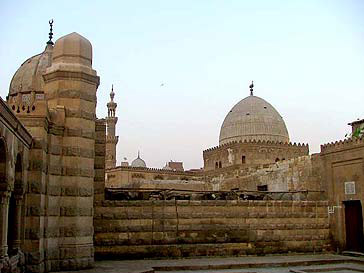 View of the complex from the inner courtyard with Imam al-Shafei dome in the background.