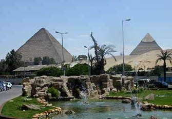 The Great Pyramids of Giza viewed from the Mena House Hotel
