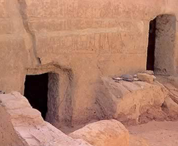 Two additional burial chambers cut into the inscribed walls of the Tomb of Amenhotep Huy in the Bahariya Oasis