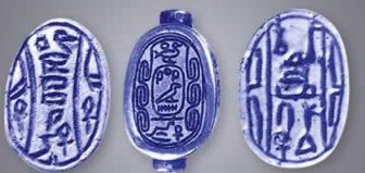 Scarabs belonging to three Hyksos kings, from left to right, Sheshi, Khyan and Apepi I