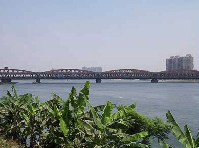 A distant view of the Imbaba bridge in Cairo, Egypt