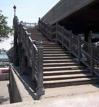 A stairway leading to the pedestrian part of the Imbaba Bridge