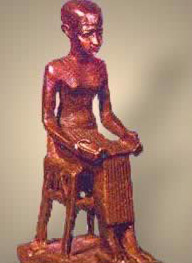 A statue of Imhotep, the first architect of the pyramids