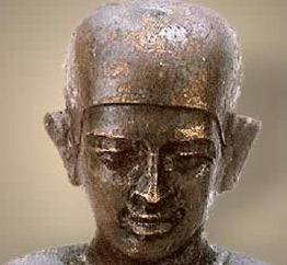 A close up of the pyramid builder, Imhotep