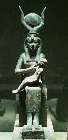 Goddess Isis with child Horus on her lap