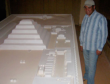 A model of the Djoser Complex in the Museum with the author, Ashraf Mohie El Din