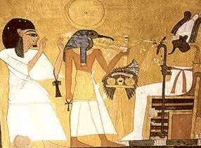 Thoth introduces Inherkhau to Osiris