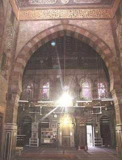 Interior view of the qibla iwan with the mihrab and mimbar