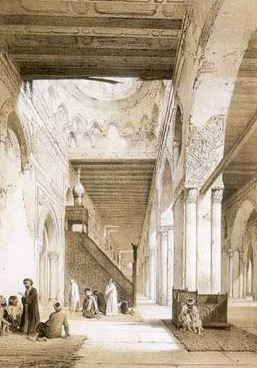 Prayer hall of the Mosque of Ibn Tulun by Emile Prisse d'Avennes