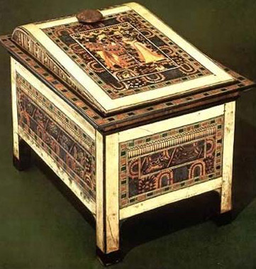 A Chest of Tutankhamun inlaid with stained ivory