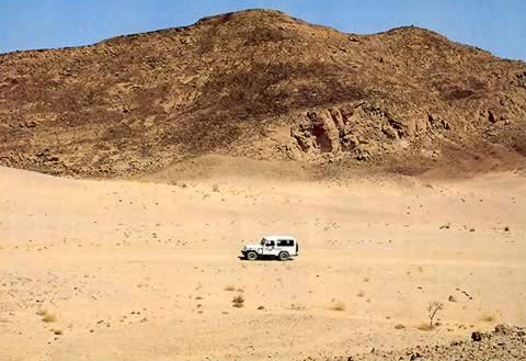 Lonely Jeep in the Vast Sinia