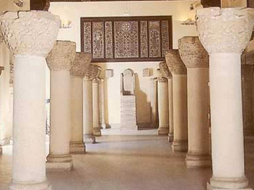 The Saqqara Hall at the Coptic Christian Museum with columns, capital and other items from St. Jeremiah's Monastery