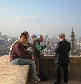 Tourists take a break in the Citadel and enjoy the view