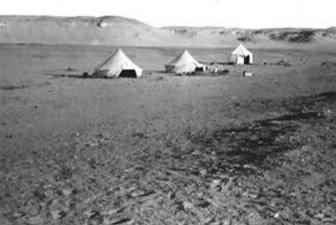Main camp - Quarries A & B. The 3rd and 2nd tents are in foreground. Granger's and Olsen's tent stands beyond.