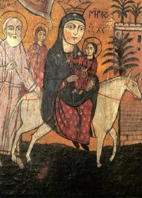 A Nineteenth Century icon of the Flight of the Holy Family from the Church of Abu Sarga in Old Cairo