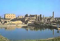 View of Karnak Temple from lake Isheru