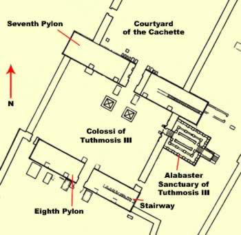 Plan of the courtyard between the Seventh and Eighth Pylons