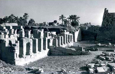 An overall view of the Amenhotep II Sed Festival Monument before any recent restoration