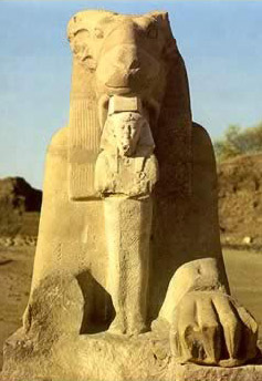 One of the sphinxes showing Ramesses II
