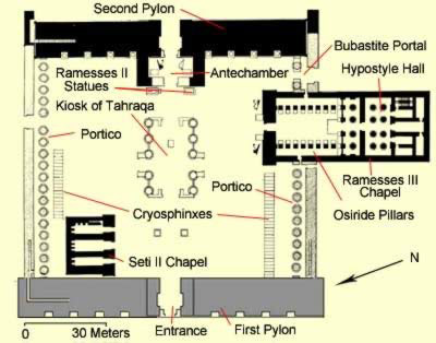 Floor Plan of the First Courtyard at the Temple of Amun, Karnak