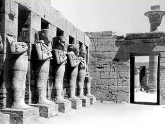Courtyard of the Temple of Ramesses III with its Osirian Statues