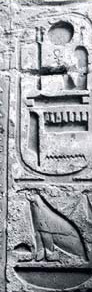 Cartouche of Ramesses III with the name of Mut below