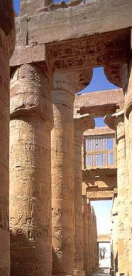 Inside the Great Hypostyle Hall in the Temple of Amun at Karnak