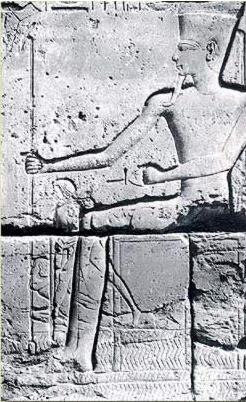Superimposition of Amun and a scene of struggle
