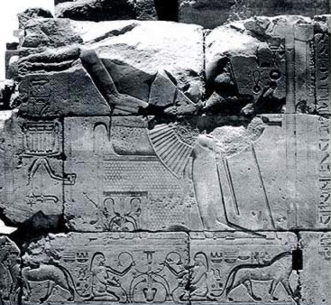 Tuthmosis III on his throne with the Nile Gods and lions below