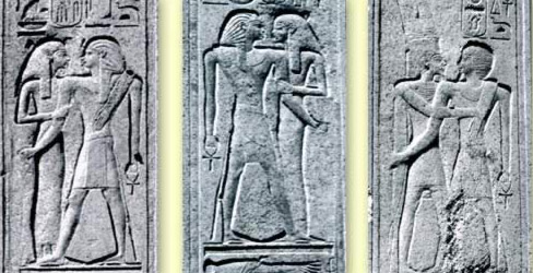 Left: The king embraced by Mut on the South Pillar; Middle: The king embraced by Mut on the North Pillar; Right: The King embraced by Amun