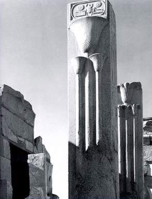 The two granite pillars constructed by Tuthmosis III in front of the naos of Philip Arrhidaeu