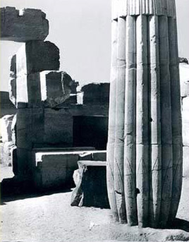 A fasciculate column in the peristyle court of Tuthmosis III at Karnak