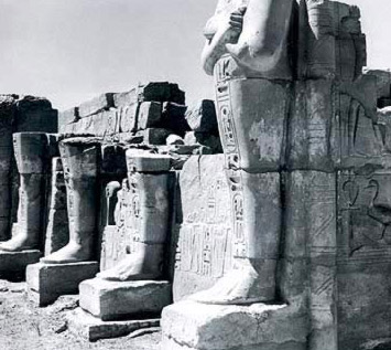 The Osirian statues that front the Chapel of the Hearing Ear on the outside of the Temple of Amun at Karnak