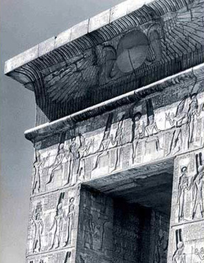 The cornice and lintel of the monumental gate's north facade leading into the enclosure of the Temple of Montu at Karnak