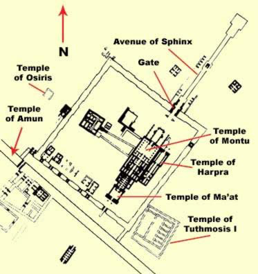 Plan of the Precinct of Montu just north of the TEmple of Amun