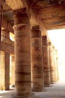 Tent pole columns in the Festival Temple of Tuthmosis III