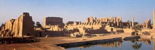 A general view of the Temple of Amun including the sacred lake