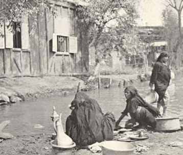 Village idyll - an everyday canal-side scene at washing-up time